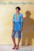 Roja Flamenco Style Turquoise Piano Shawl Skirt 14 Fringe Last One Xl