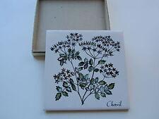 Vintage Delanos Studios Cork Backed Chervil Herb Tile Trivet Hand Colored IOB