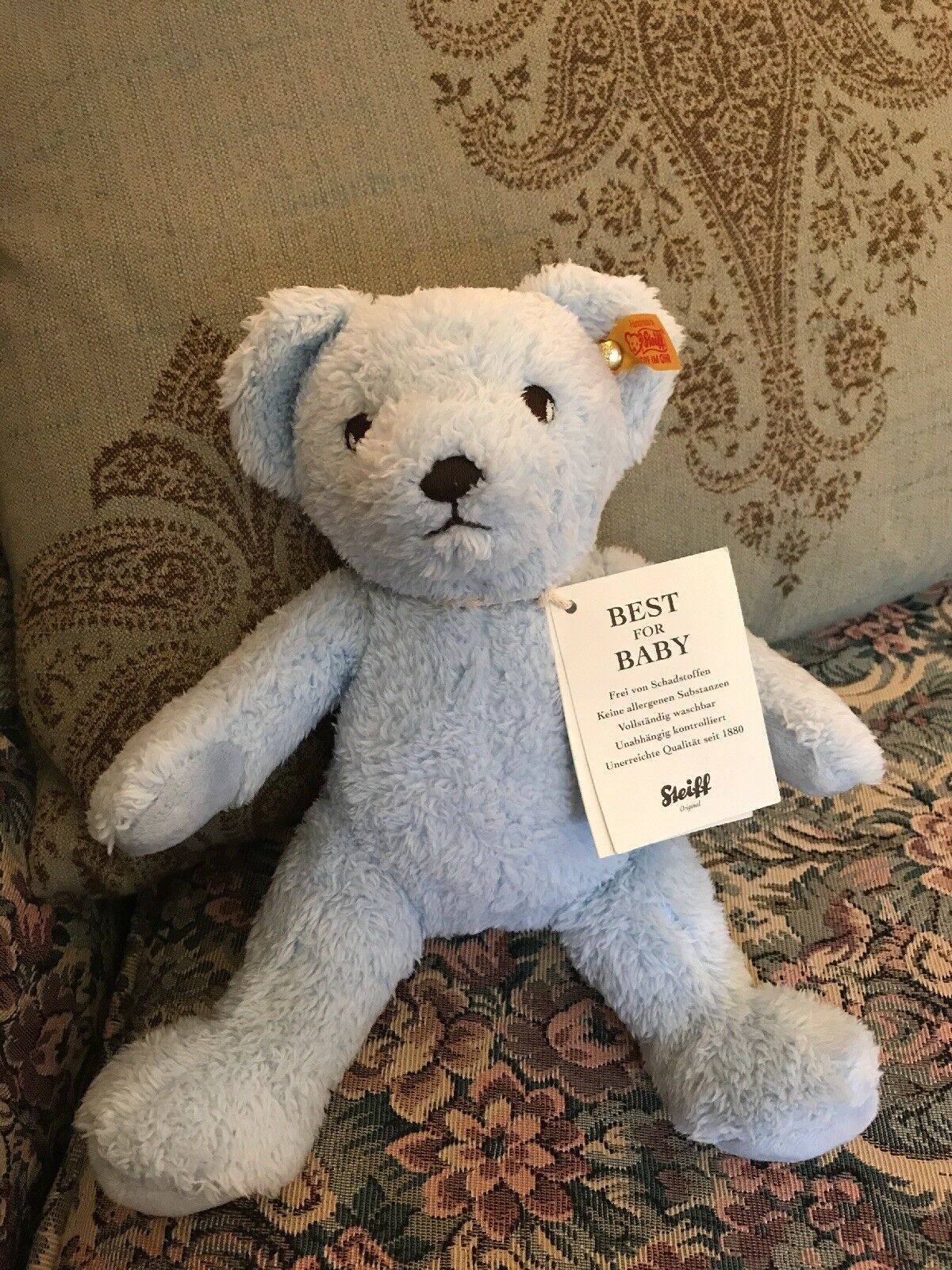 "NEW 10"" Steiff My First Steiff bear plush baby boy blue embroidered eyes NWT"