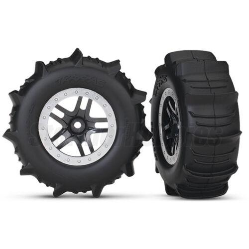 TRA5891 2 Traxxas Slash 4x4 Front//Rear Paddle Tires on Split-Spoke Rims