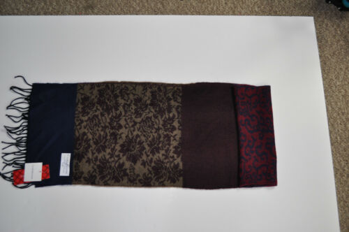 NEW Croft /& Barrow Men/'s Navy Burgundy Patterned//Solid Acrylic Scarf MSRP $28