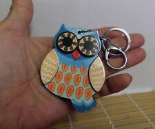 Brand New Kawaii Lovely Korean Style Lucky Owl Keychain Mirror Bag Dangle Blue