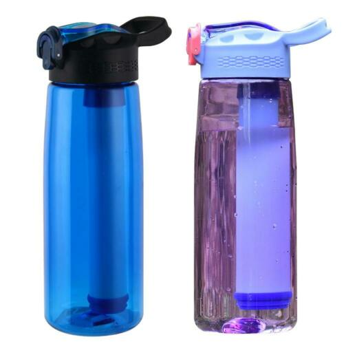 Outdoor Sport Purifier Water Filter Cup Survival Tool Drinking Water Bottle Blue