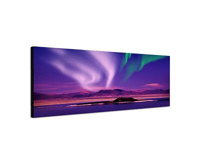 150x50cm Nordlicht Panorama lila Aurora Seelandschaft Polar Leinwand Bild Sinus