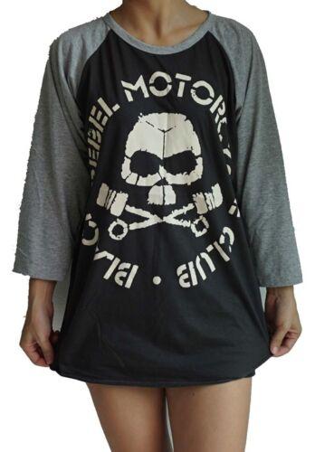 Unisexe Club De Motards Black Rebel Raglan 3//4 Baseball manche longueur T-Shirt