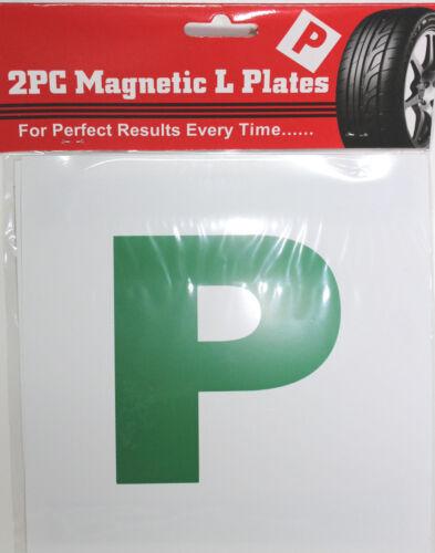 2 X Grün Magnetisch Neu Fahrer 'P' Pass Platten - Neu Fahrer Alarm
