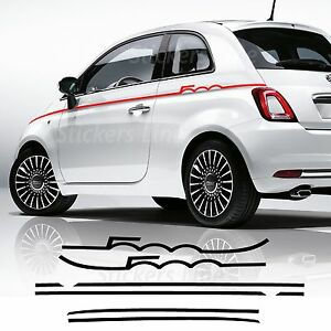 Details About 2 Adhesive Strips Sides Fiat 500 Semiscritta Bands Tuning Stickers Decal