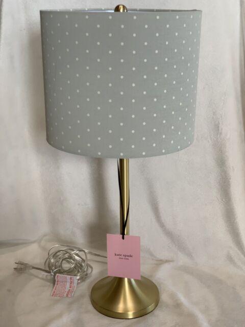 Kate Spade Table Lamp Gold Base Polka Dot Gray White Shade Nwt 349 Dorm
