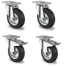 4 Stück Transportrollen lenkbar 100 mm Gummibereifung Lenkrollen Transportrollen