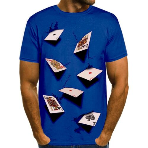 Mens Poker Playing Cards 3D Printed Casual T-Shirts Short Sleeve Club Basic New