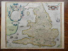 1573 Ortelius Lhuyd Map England Wales Genuine Antique Old Ireland Scotland 1575?