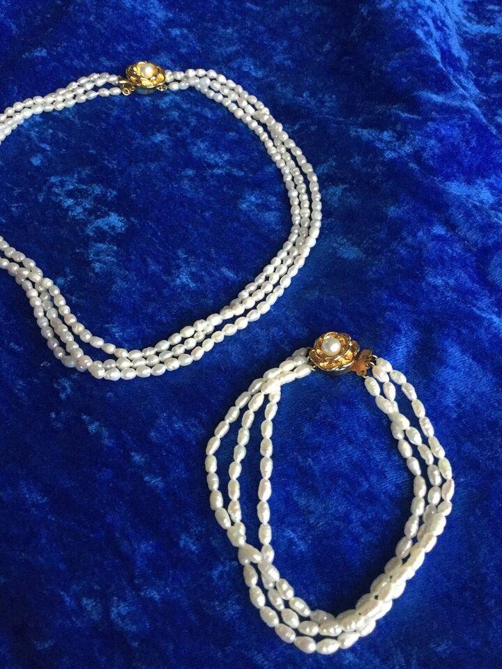 Smykkesæt, perler, Smykke sæt ferskvands perler 3 rækker
