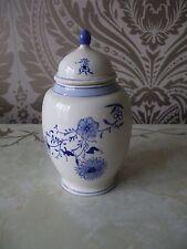 VINTAGE con decorativo China Blue & White Ginger Spice VASO Urna alto 17cm