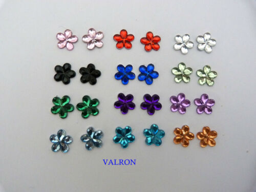 MINI CRYSTAL FLOWER EARRINGS  STUD OR MAGNETIC CHOICE OF COLOURS 9mm