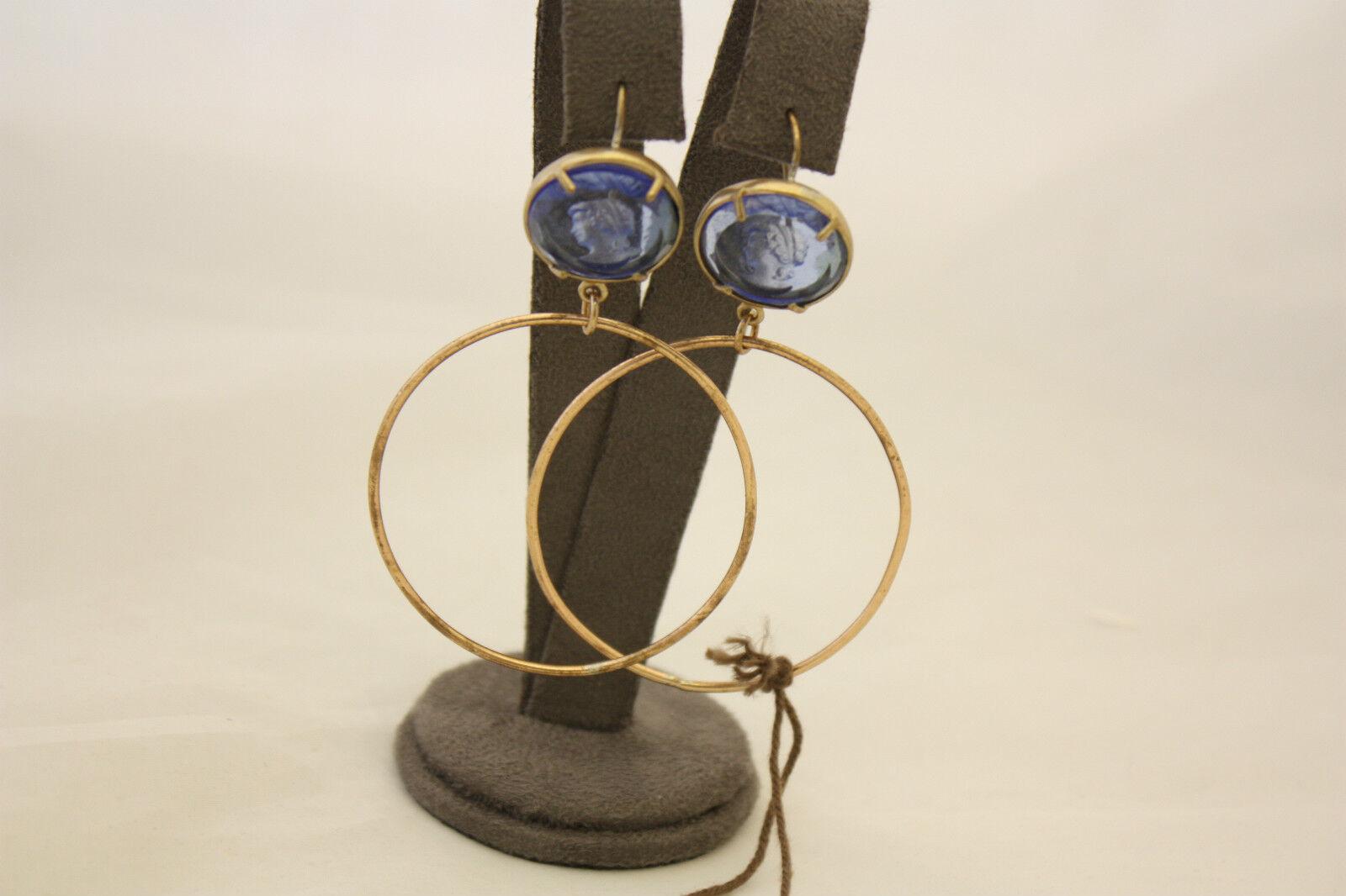 Hoop Earrings Patrizia Daliana Bronze pinkto with Cameo Glass bluee