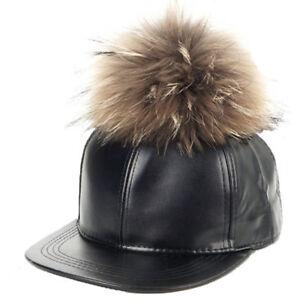 LADIES-WOMENS-GIRLS-FAUX-LEATHER-5-PANEL-BASEBALL-SNAPBACK-CAP-FUR-POM-POM-HAT