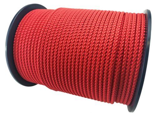 Rouge En Polypropylène Corde Tressée Poly cordon ligne Voile Boating Escalade Camping