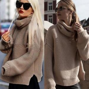 8caf816aba613e Women Ladies Long Sleeve High Collar Knitted Sweater Jumper Knitwear ...