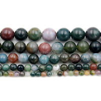 Natural Indian Agate Gemstone Round Beads 16'' 4mm 6mm 8mm 10mm 12mm 14mm 16mm