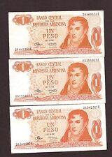 Argentina 1 Peso 1970-73 P-287   VF x  3