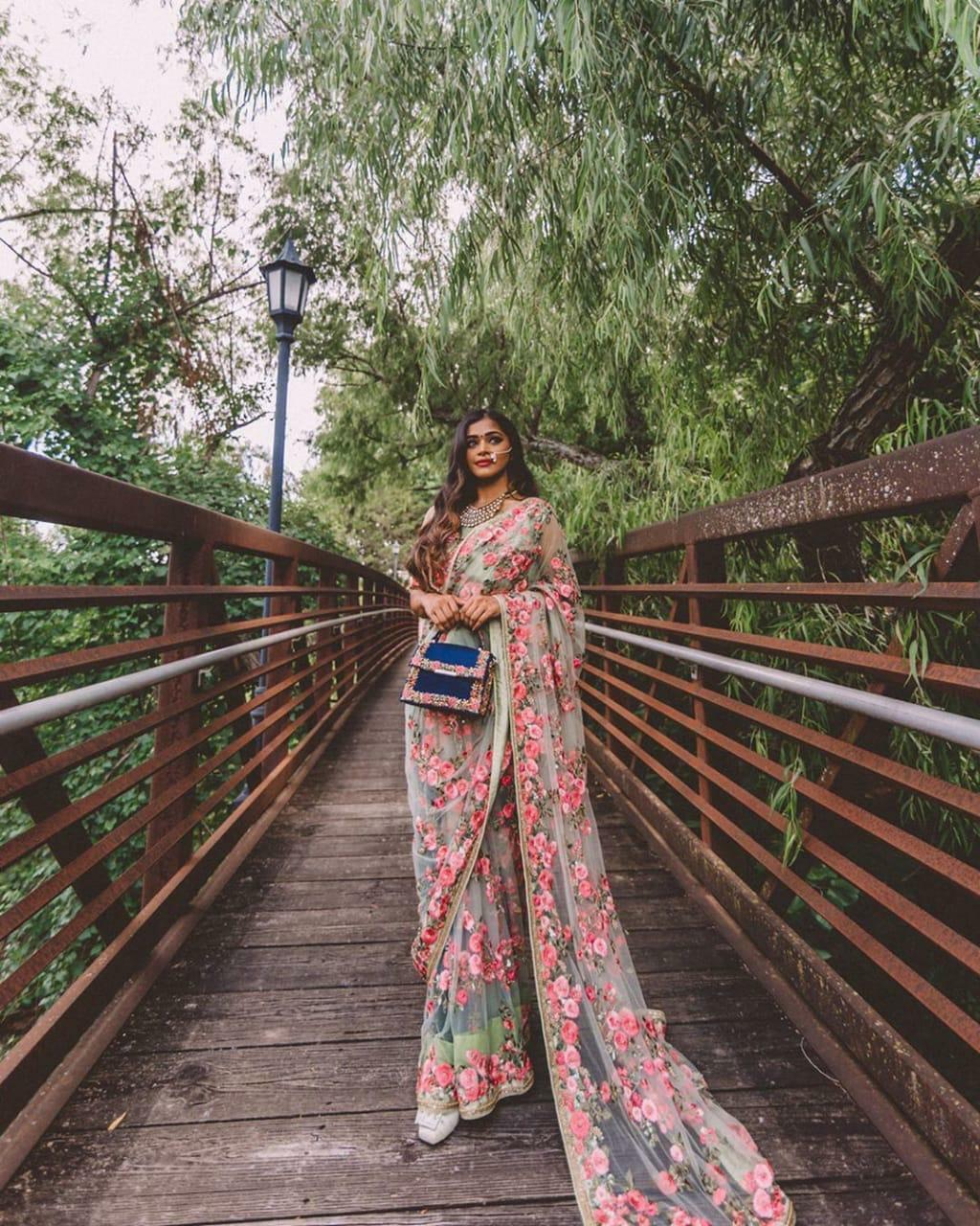 Floral Thread Green Sari Saree Indian Ethnic Wedding Party Wear Designer Lengha