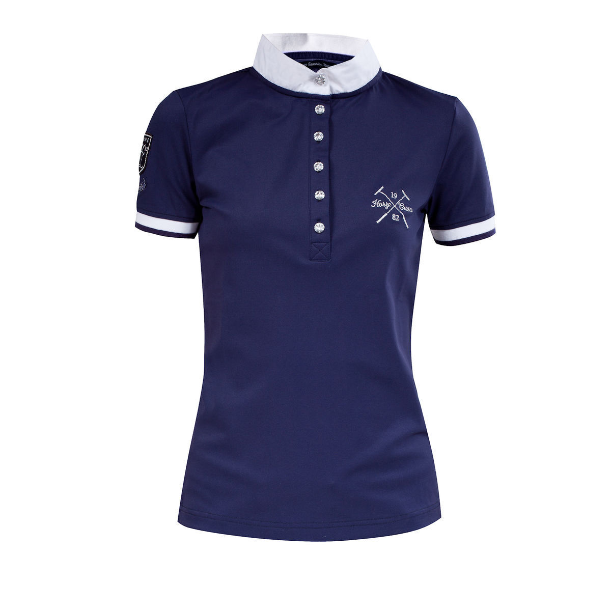 Womens Horze NAVY blueE English Hunt Seat  Crescendo Pique Show Shirt SALE  sell like hot cakes