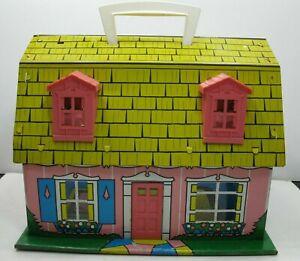 Marx-Tin-Litho-Beach-Cottage-Doll-House-w-Handle-Pink-Yellow-Blue-Vintage-RARE