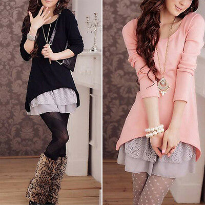 2016 Women Autumn Winter Lace Hem Two-piece Long Knit Dress Casual Blouse Hot