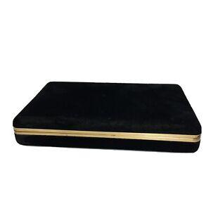 "Vintage Velvet Jewelry Box Travel Case 24 Compartments Mirror 10""x 6.5"" Black"