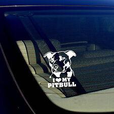 "I LOVE MY PITBULL Decal Sticker Car Window Bumper Wall I Love My Rescue Dog 4"""