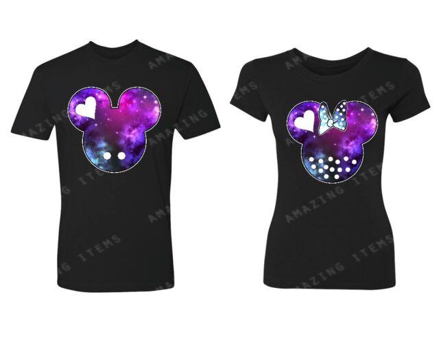 Mickey & Minnie Couple Heads GALAXY Couple Matching T-shirts Cute couple shirts