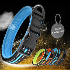 XS-L-Durable-Nylon-Reflective-Dog-Collar-Mesh-Padded-and-Pet-ID-Tag-Personalised