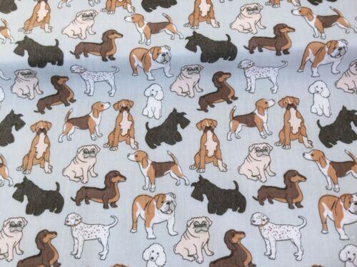 nuevo Poli Algodón gris marrón Perros Animal Print Pet Pug Terrier Beagle
