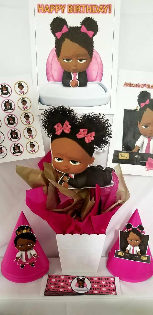 Boss baby African American Girl birthday party supplies