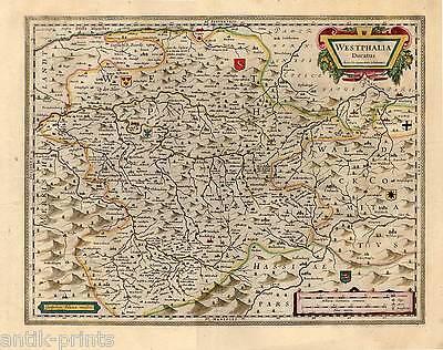 Westphalia Ducatus-sauerland-westfalen Kupferkarte-map Blaeu 1640 SchöNer Auftritt