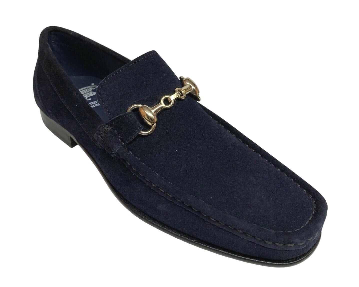 vendite online Calzoleria Toscana Uomo Uomo Uomo Slip On blu Suede Hand Craft Loafer scarpe 8616  vendita di offerte