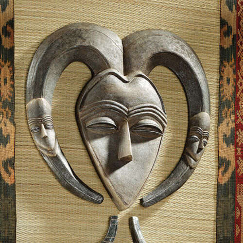 Historical Aged Wood Finish African Exotic Tribal Art Wall Mask Gabon