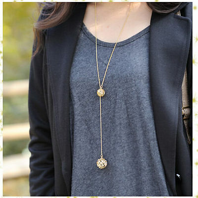 Fashion Charm Adjustable Double Golden Hollow Ball Pendant Long Chain Necklace