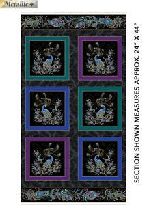 "Peacock Flourish Bird Feather Paisley Black Cotton Fabric Benartex 24""X44"" Panel"