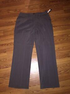 Size Stripe Pin Nuovo Nwt White Stretch Spt 60 16 Larry Levine Espresso Pantaloni XzAvw