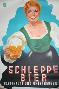 Originalplakat Lithographie, Schleppe BIER Klagenfurt, um 1950