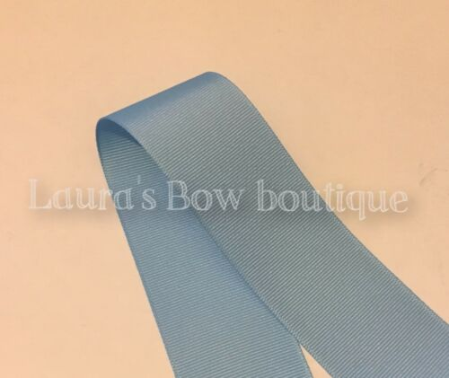 100/% POLYESTER VARIOUS COLOURS AVAILABLE 10 METERS GROSGRAIN 38MM PALE BLUE
