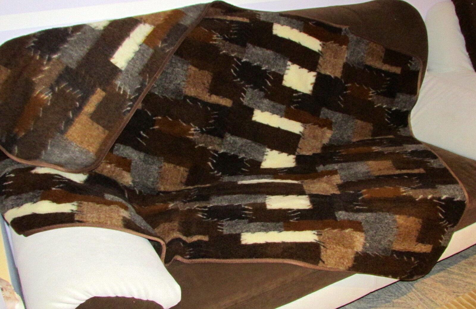 TAPPETO TAPPETO TAPPETO  Patchwork  divano coperta di lancio copriletto coperta unilateralmente 100% LANA 854b34