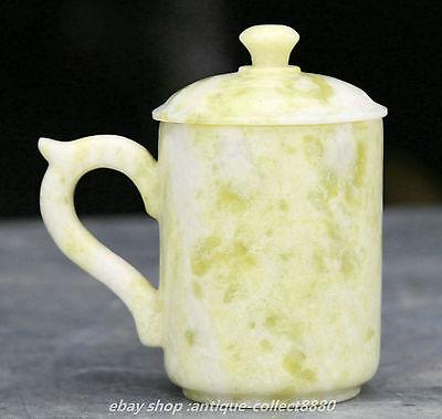12cm China 100/% Natural Green Lantian jade Hand Carving Wine Tea Cup Bowl Statue