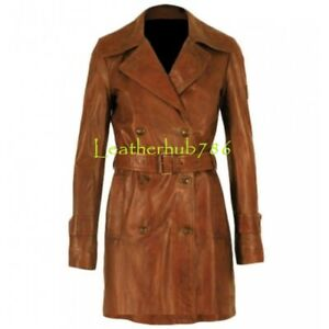 Giacca donna Lambskin Trench Wear Coat New da Leather Brown Real Casual Designer 13 OBwqROr