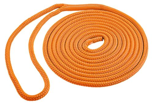 Orange  DOCK LINE Double Braid Polyester 15 ft 1//2 in rope eye splice SL91640