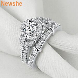 Newshe-Engagement-Wedding-Ring-Set-925-Sterling-Silver-Blue-Sapphire-Cz-Sz-5-10