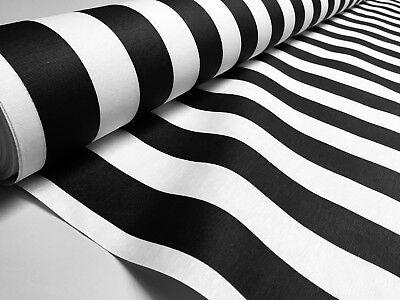 Teflón Impermeable Exterior Tela de Rayas Material 140cm Ancho Negro Blanco