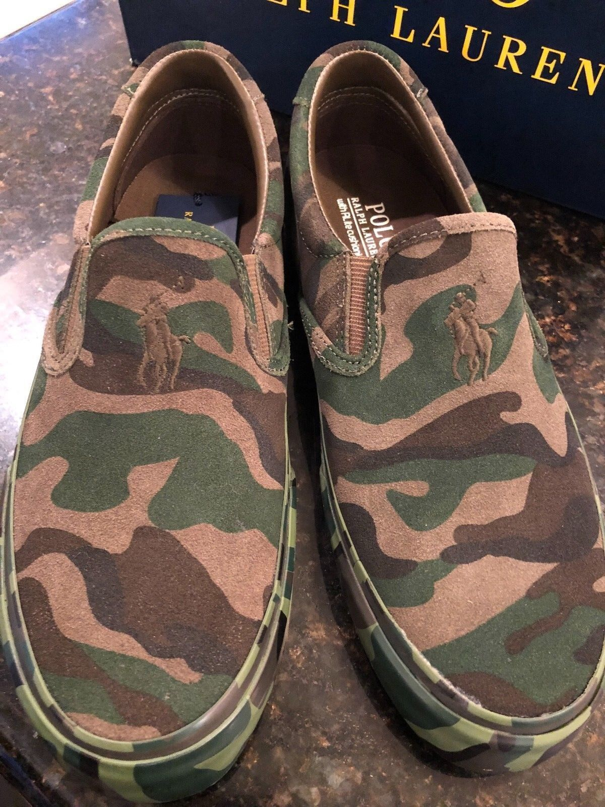 NIB RALPH LAUREN THOMPSON CAMO CAMOUFLAGE SLIP ON TENNIS chaussures RUBBER SOLE 10  D