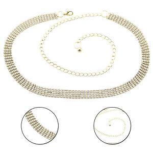 Cintura in vita donna in argento 10 Fila Strass Diamante Diamanti Fashion Wear Ragazze
